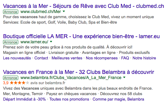 Exemple de publicité Google AdWords
