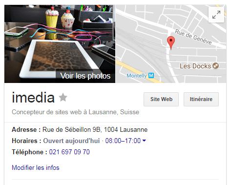 Exemple de la fiche Google My Business de notre agence digitale imedia.ch (Lausanne)