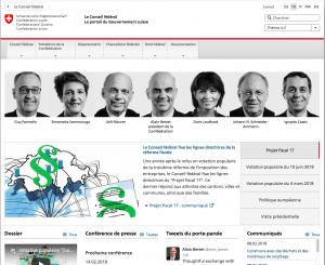 Les actualités sur le site de la Confédération suisse