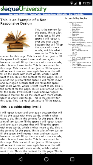 Exemple de site non adapté à l'affichage sur mobiles