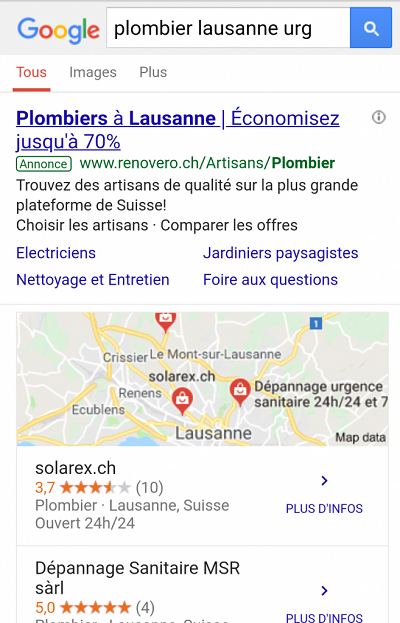 Google sur mobile
