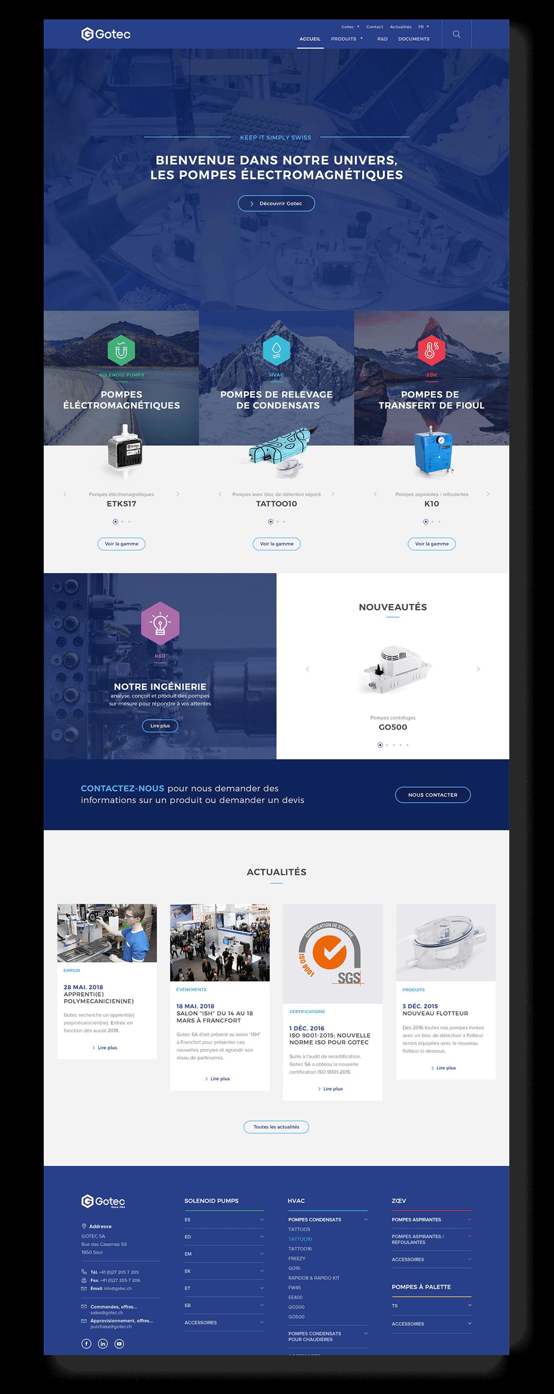 Homepage du site Gotec